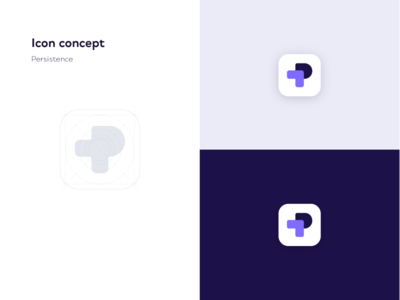 Persistence Icon Concept fresh colors fresh identity branding identity conceptual hover mouse arrow letter p shapes minimal purple colors simple branding icon design clean concept icon