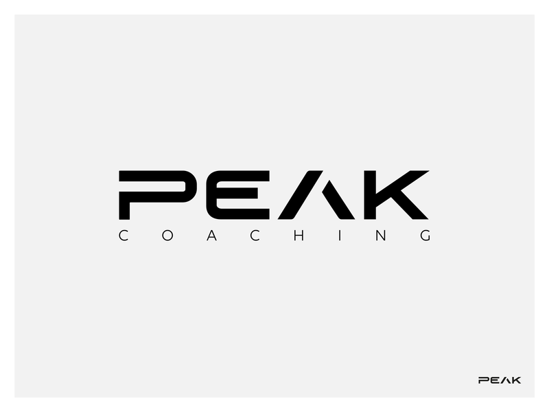 PEAK Coaching logo design personal training branding clean coach visual identity minimalistic logo peak coaching fitness identity typography text simple minimal brand design logo