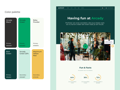Arcady style design agency development green minimal ux ui design web design branding identity colors color palette