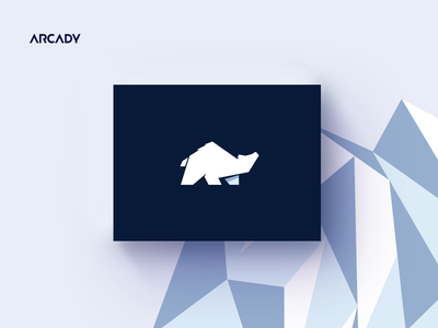 Arcady Logo Concept north star agency consultancy polar ice blue concept bear icon design logo