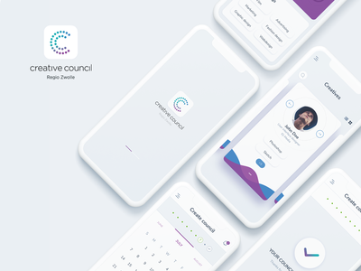 Creative Council App UI purple blue council creative clean colors simple mobile ui app design ux ui mobile