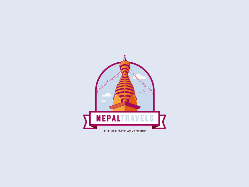 Nepal Travels Logo concept buddhist buddhism swayambhunath swayambhu temple illustration tourism hiking nepal agency travel design logo