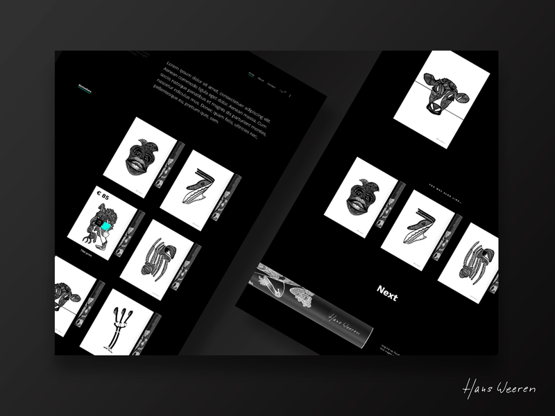 Hans Weeren Minimal Webshop Concept canvas art webshop minimalism web shop shop ui ux e-commerce minimal poster printshop print dark black  white simple clean ecommerce