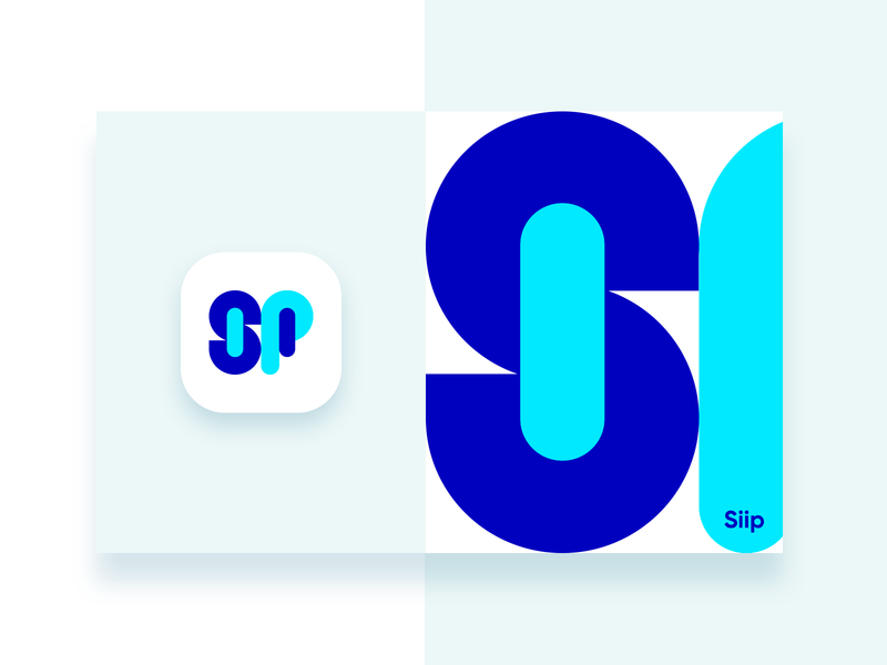 Siip Logo Design neon colors bright colors font illustration typography branding identity blue simple clean icon app design logo