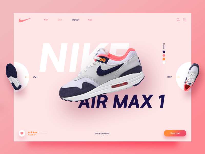 Nike Air Max 1 Sneaker web e-commerce gallery design ui store colors ecommerce sport shop shoe pink sneaker nike
