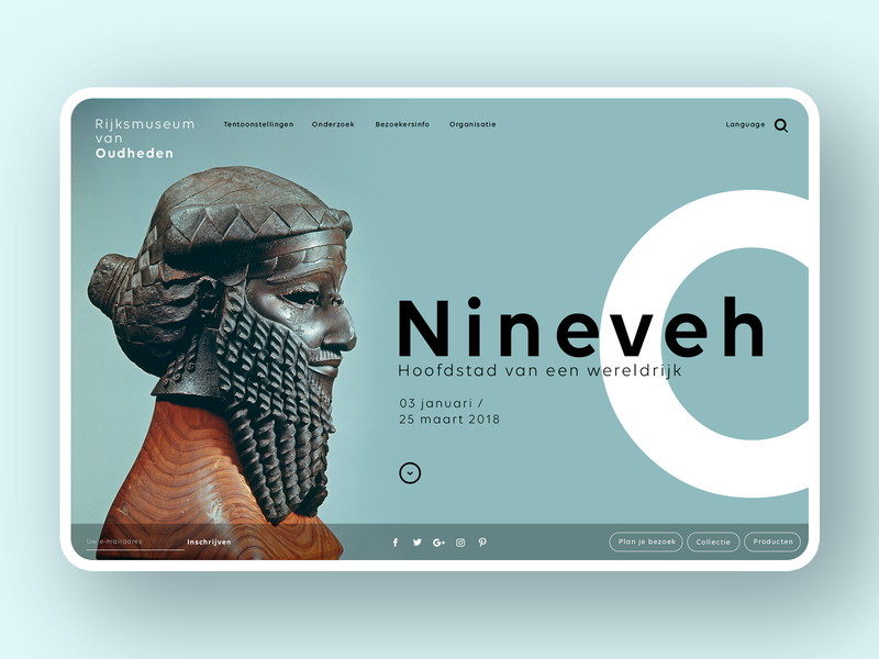 RMO Museum Web concept antique royal art web interface simple minimal ux ui ancient museum homepage web design