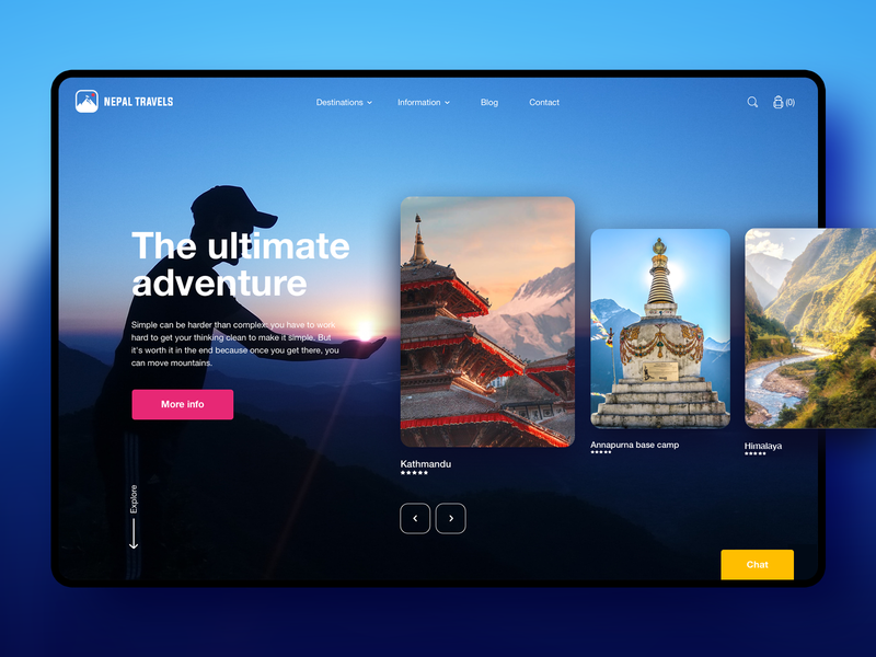 Nepal Travels - Trekking Hiking design UI concept concept rounded interface website uxdesign uidesign ux ui webdesign nepal header hiking trekking hero image hero