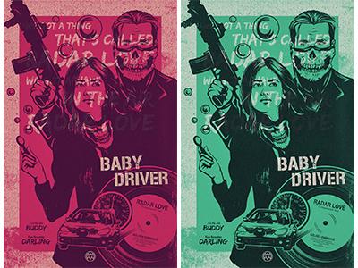 Baby Driver / Radar Love speed illustration fan art love radar music guns driver fast getaway robbery baby driver