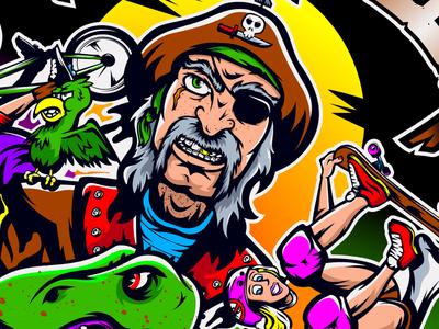 Design You Guys wacom gold parrot vector bmx dinosaur skateboard sun poster pirate