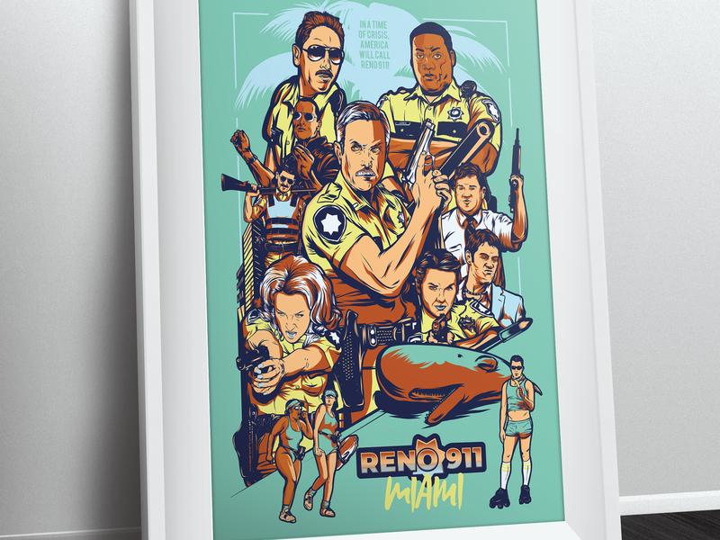 Reno 911 Miami Poster action illustration vector the rock comedy movie reno 911 miami reno 911 miami palm tree gun art alternative poster poster comedy central cop reno