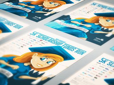 USSD 5k Scholarship Poster poster college deploma cap areal cartoon 5k run graduate princess disney dam