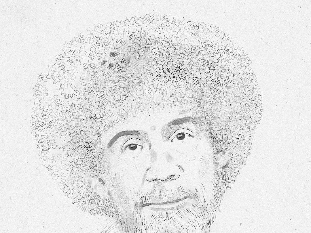 Bob Ross black and white bob ross portrait derek bacon illustration drawing
