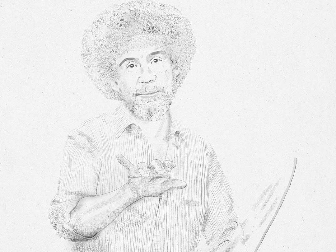 Bob Ross faces derek bacon illustration blackandwhite sketch drawings line drawing portrait drawing painting bob ross