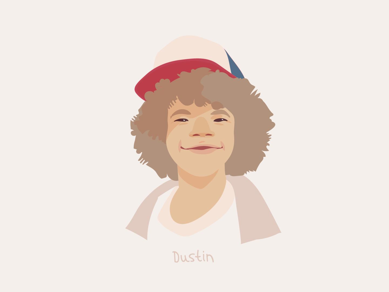 Dustin stranger things portrait character vector illustration