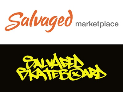 Salvaged Logo and Salvaged Skateboard Logo logo design logo concepts startup