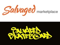 Salvaged Logo and Salvaged Skateboard Logo