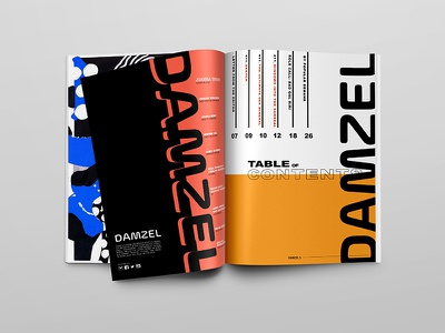DAMZEL | ToC magazine spread masthead layout magazine publication editorial table of contents