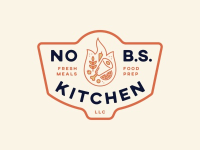 No B.S. Kitchen - Primary Badge illustration logo kitchen fire food badge badge design
