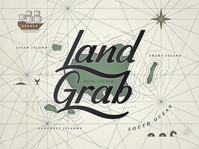 Land Grab dribbble logo design monoweight illustration custom type lettering typography