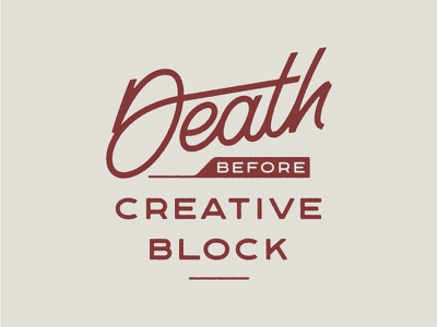 Death Before Creative Block dribbble logo design monoweight illustration custom type lettering typography