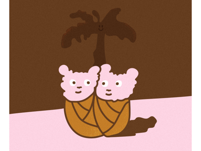 Love chums friends lovely pink twins love illustration