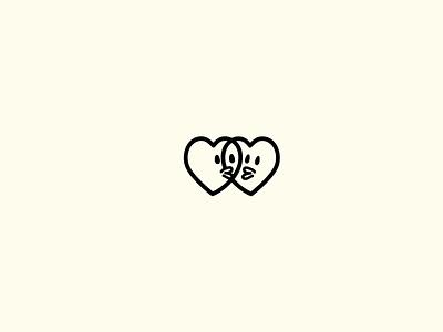 love kiss heart branding illustration design icon design symbol logo icon