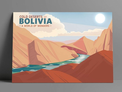 Cold Deserts of Bolivia book print web art direction graphic design color typography illustration
