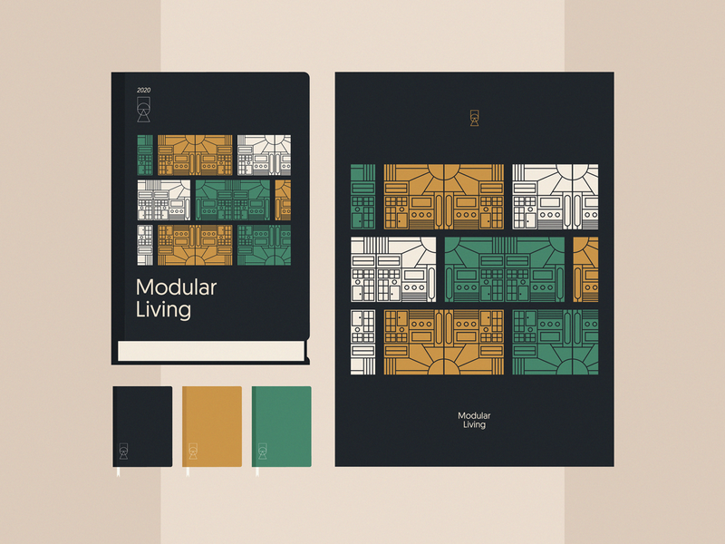 Modular Living | pt. 2 art visual identity visual materials marketing branding typography product design nikola obradovic design colors minimal illustration modular notebook graphic design booklet stationery book cover print book