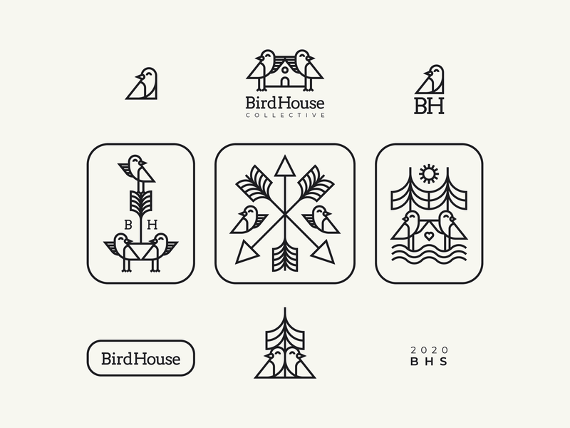 BirdHouse Collective patch retro animal design character logo birds logo freelancer identity branding design 2020 nikola obradovic design product design graphic design colors nature illustration nature birds illustration visuals assets branding