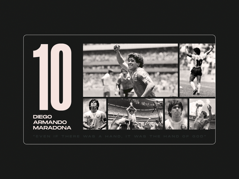 Diego Armando Maradona | El Pibe typography graphic design once in a lifetime el pibe hand of god nikola obradovic design web design black and white fanart illustration football d10 diego armando maradona tribute maradona fenomeno golden boy