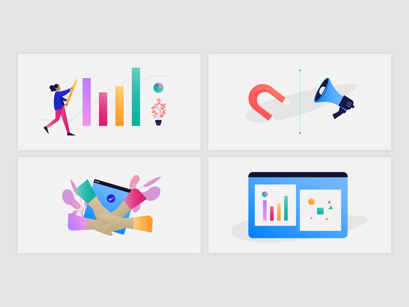 Orogamis | Content Illustrations vector 2020 gradients icon product design branding web page ui gradient color mvp article business nikola obradovic design graphic design freelancer web design illustration content