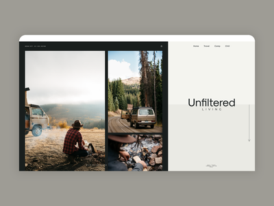 Unfltrd. | Web ux landing camping trees woods living nature typography nikola obradovic design graphic design branding clean minimalistic photo uiux ui web app page layout web designer product design