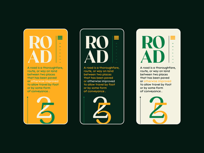 Road ® graphic design app design mobile app screen symbol illustration scroll web design typography nikola obradovic design colorful green branding uiux mobile ui freelance 2021 product design mobile app