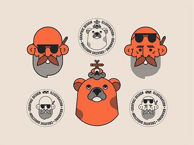 OND | Visual Assets illustration bear beard 2018 lockup typography mark brand logo adobe vector app ui avatar character serbia obradovic nikola studio de design freelancer ond