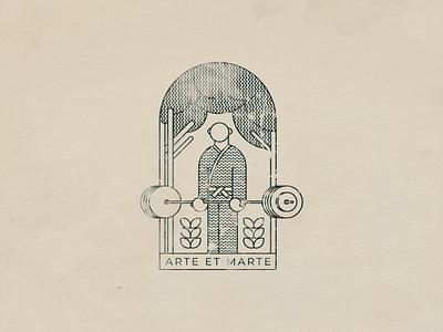 Arte Et Marte | Ex Libris hire serbia freelancer custom personal paper book print 2019 texture wash illustration nikola obradovic design ond typography brand marks logo stamp ex libris