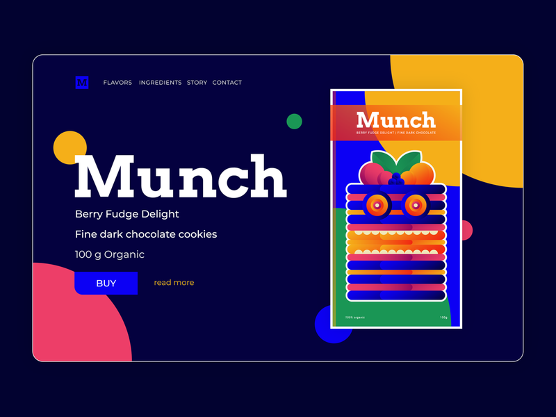 Munch | Product page hero image page design product design graphicdesign mobile vector freelancer ondsn nikola obradovic design playoff food chocolate app web uiux ui illustration character design branding webdesign