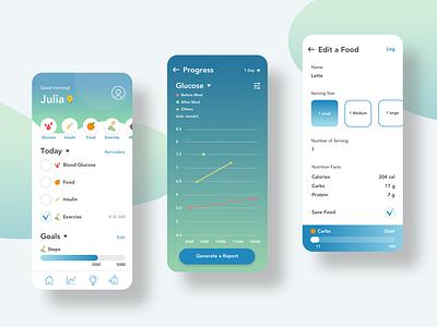 Type-1 Diabetes Self-Management Mobile App insulin ux challenge ux  ui food app symptom diabetes tracker health app mobile app kid app healthcare ux design design