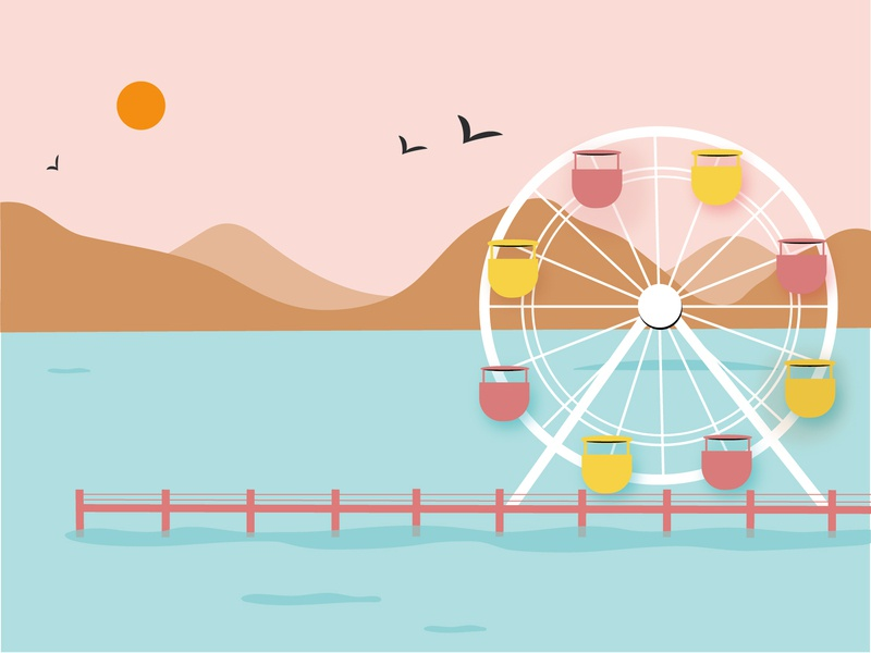 Santa Monica - Los Angeles color sunset mountains beach ferris wheel santa monica los angeles coastal vector design flat illustration illustration