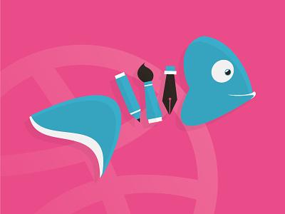Hello dribbble first shot design logo illustration