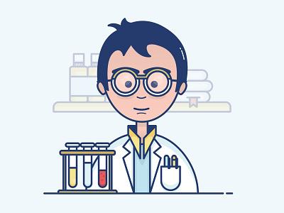 Illustration - Pharmacist vector drawing icon illustration