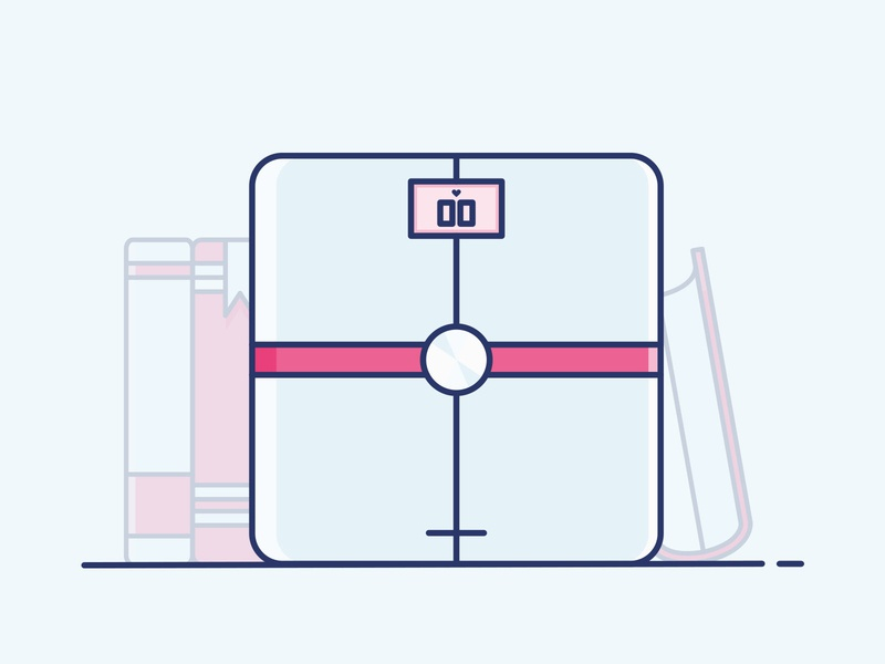Icon - Body+ love book connected withings health body weight balance flat vector drawing design icon illustration