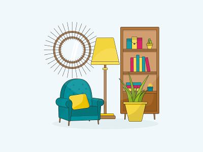 Illustration - Living room practice decoration chair draw home living room drawing design illustration