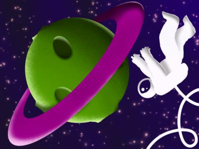 Grab it! effect grain stars grabing alien purple design illustration green planet astronaut space