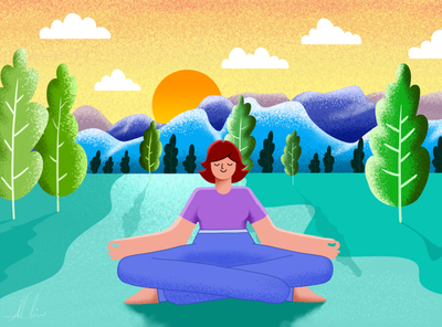 Relax outdoors sky girl modern flat design nature art grain texture effects vector design creative illustration meditation