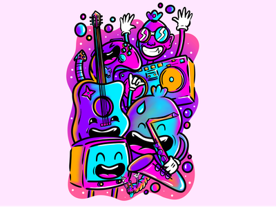 Doodles infinite painter photoshop purple blue effects adobe illustrator vector creative illustration design doodleaday doodleart doodles