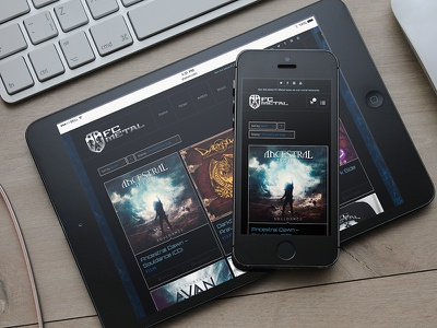 Responsive web and e-commerce design for FC Metal ecommerce woocommerce wordpress ipad tablet mobile record. music label discographic metal responsive web