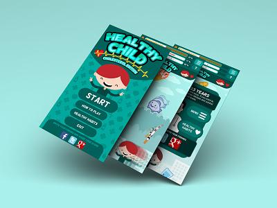 UI / UX and 2D art design for Healthy Child design mockup gaming cartoon health child mobile app game videogame ui ux