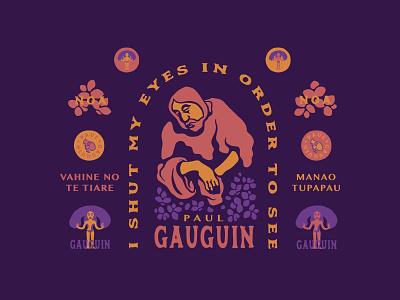 Paul Gauguin - Responsive Brand Homage icon logo responsive purple artist floral vector design typography illustration branding