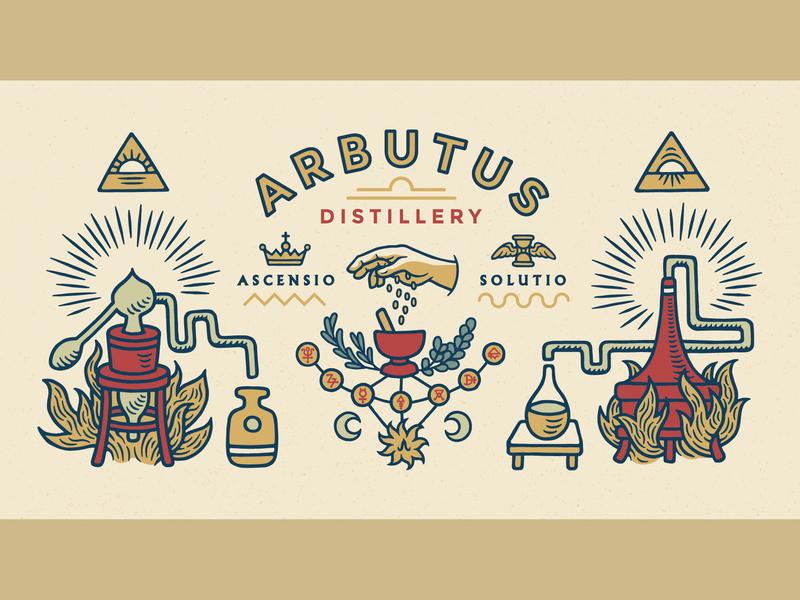 Arbutus Distillery — Mural Art typography flat tarot astrology mural distillery alchemy illustration branding