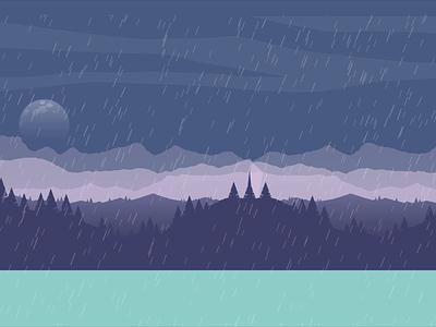 Walk under the rain video design motion design after effects illustration moon night umbrella flowers rain duik character motion aftereffects animation walk girl